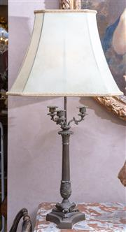 Sale 8568A - Lot 116 - A pair of classical table lamps modelled as candelabra with fluted columns and claw feet, with cream shades, total H 84cm