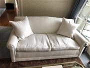 Sale 8815A - Lot 82 - A pair of good quality fabric upholstered three seater sofas with down filled cushions, H 86, W 181, D 96cm