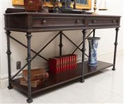 Sale 8868H - Lot 23 - A custom built oak and hand wrought iron console table with two drawers above a lower shelf, Height 104cm, Width 190cm, Depth 54cm