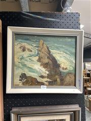 Sale 8910 - Lot 2064 - Langley Donges - Shippens Cliff, by the Swimming Pool oil, signed lower left