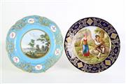 Sale 8935 - Lot 4 - Late c.18th later decorated Sevres plate (Dia24.5cm) together with a Vienna style plate with shepherds