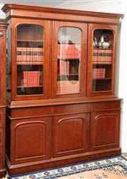 Sale 8940J - Lot 16 - An Australian good quality mahogany 2 section vintage bookcase C:  Mid century. The 3 upper arched glazed doors enclosing 9 adjustab...