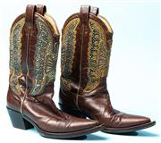Sale 9090F - Lot 58 - A PAIR OF LIZELLE PROJECT BEDAZELLED COWBOY BOOTS; Size 36