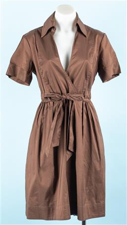 Sale 9091F - Lot 235 - A DIANE VON FURSTENBERG BROWN WRAP STYLE DRESS; side zip, draw string waist, coton and polyester, size US8.