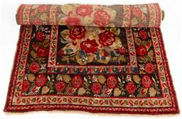 Sale 9130H - Lot 91 - A Robyn Cosgrove runner in red and brown tones, with red roses. Length 332cm Width 142cm