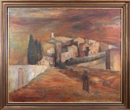 Sale 9165H - Lot 147 - F C Duck, Assisi, 74 oil on canvas, signed and dated lower right,  in Gilt Frame 75x90cm