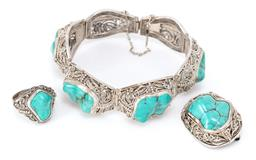 Sale 9169 - Lot 395 - A VINTAGE CHINESE FILIGREE SILVER TURQUOISE BRACELET, RING AND BROOCH SUITE; floral filigree and bead work on 26mm wide tapered plaq...