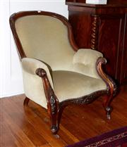 Sale 8088A - Lot 24 - A Colonial carved cedar sage green velvet upholstered armchair.