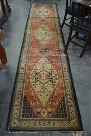 Sale 8099 - Lot 881 - Woollen Machine Made Runner with 3 Central Medallions (402 x 81cm)