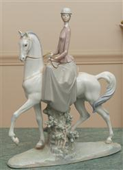 Sale 8630A - Lot 75 - A Lladro figure of a lady on a horse, H 46cm