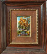 Sale 8650A - Lot 93 - A Limoges enamel panel with Autumn scene, signed Jean Betourne, panel size 12 x 8cm.