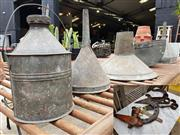 Sale 8740 - Lot 1224 - Collection of Galvanised Funnels Together with Other Items incl. Shears