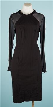 Sale 9090F - Lot 149 - A CUE LONG SLEEVED WIGGLE DRESS; in black with sheer detailing, (Size 12)