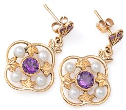 Sale 9124 - Lot 359 - A PAIR OF 9CT GOLD EDWARDIAN STYLE AMETHYST AND PEARL EARRINGS; each a quatrefoil cluster centring a round cut amethyst surrounded b...