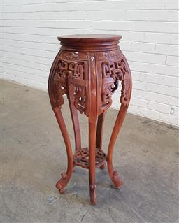 Sale 9126 - Lot 1263 - Chinese hardwood jardiniere stand (h:85 x d:29cm)