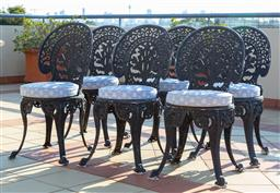Sale 9165H - Lot 13 - A set of six outdoor painted aluminium chairs with padded cushions. Height of back 87cm