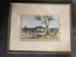 Sale 9159 - Lot 2055 - Diana Watson Cattle Farmyard, watercolour, frame: 40 x 49 cm , signed lower right -