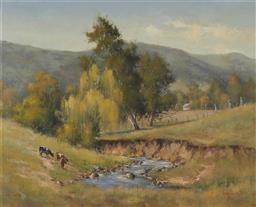 Sale 9170 - Lot 559 - WERNER FILIPICH (1943 - ) Cattle By a Creek, Berry, 1984 oil on board 60 x 75 cm (frame: 77 x 93 x 4 cm) signed and dated lower right