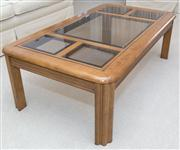 Sale 8402H - Lot 16 - A timber and five glass coffee table in contemporary style. Height 40cm, width 120cm, depth 67cm.