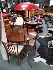 Sale 8684 - Lot 1065 - Mid Century Steel Rod Standard Lamp with Red Dome & Pallet Design Shelf