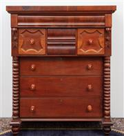 Sale 8940J - Lot 17 - An antique Australian Colonial full cedar 8 drawer chest C: 1870. The edge banded top on a full length scarf drawer above tandem cen...