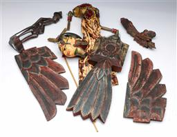Sale 9093P - Lot 29 - Indonesian Puppet and Geruda Ornament in Sections and Fisherman (29cm).