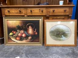 Sale 9094 - Lot 2057 - 2 Works: D White Mallards oil on canvas, together with a Still Life by Unknown Artist