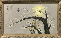 Sale 9106 - Lot 2122 - Vintage Chinese Painting of Birds in Blossom Tree, 72 x 133cm