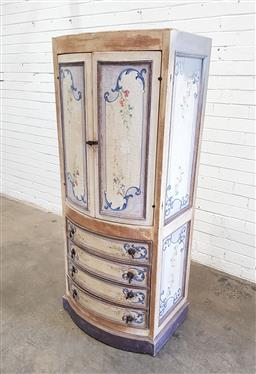 Sale 9126 - Lot 1267 - French style entertainment cabinet with 2 doors and 3 drawers (h:150 x w:63 x d:49cm)