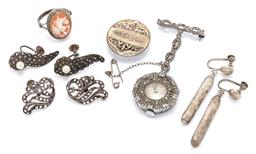 Sale 9169 - Lot 350 - SIX VINTAGE SILVER JEWELLERY ITEMS; Nivada 15 jewel manual nurses watch in octagonal mount set with white stones to bar brooch fitti...