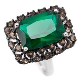 Sale 9186 - Lot 322 - A SILVER STONE SET COCKTAIL RING; featuring a rectangular cushion cut green paste to pierced surround set with round cut smoky quart...