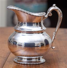 Sale 9190H - Lot 195 - An antique silverplate whisky water jug with bead edge decoration, Simpson Hall Miller, C: 1920 Height 12cm