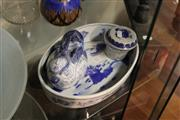 Sale 8100 - Lot 81 - Chinese Blue & White Dish, Bird Form Teapot & a Ceramic Strainer