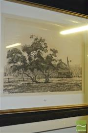 Sale 8425T - Lot 2062 - Trevor Riach - Western Landscape, etching, ed. S/P, signed lower right, 49 x 65cm, inscribed lower centre