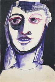 Sale 8466A - Lot 5003 - Anne Hall (1946 - ) (2 works) - Portraits in Purple/Black 56 x 38cm, each (sheet size)