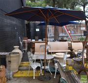 Sale 8499 - Lot 1339 - Outdoor Umbrella With Cover And Metal Base Umbrella Holder