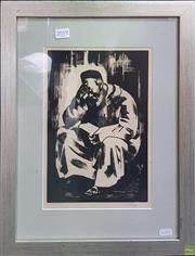 Sale 8595 - Lot 2019 - Print of a Middle Eastern Man Reading, 29x20cm, signed lower right