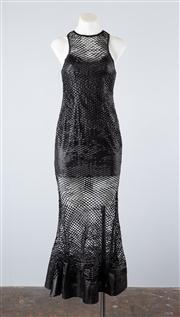 Sale 8685F - Lot 44 - An Asilio laser cut vegan leather fittted dress titled Subjective Reality,