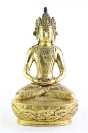 Sale 8852 - Lot 31 - Gilt Bronze Figure of Buddha H:33cm