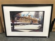 Sale 9033 - Lot 2090 - Patrice Guilbert The QVB watercolour, frame: 52 x 72 cm, signed lower right -
