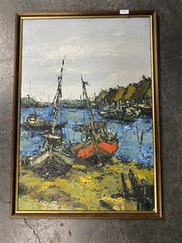 Sale 9159 - Lot 2087 - MALAYSIAN SCHOOL Harbour Scene, 1966, oil on board, frame: 58 x 41 cm, signed indistinctly lower left -