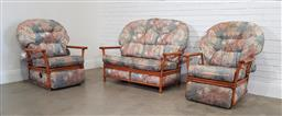 Sale 9174 - Lot 1370 - Cane three piece lounge suite incl. pair of reclining armchairs & two seater (h:83 x w:135 x d:51cm)