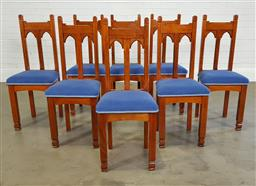 Sale 9218 - Lot 1092 - Set of eight gothic dining chairs (h100 x d40cm)