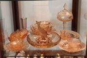 Sale 8014 - Lot 100 - Assorted Pink Glass Wares incl Deco Fish Vase, (chips)