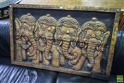 Sale 8500 - Lot 1265 - Carved Indonesian Wall Hanging Depicting Elephants