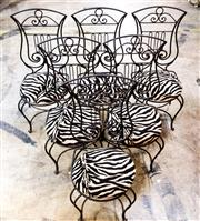 Sale 8516A - Lot 40 - An early set of 6 French wrought iron Lyre chairs, beautiful handworked detail, seat is detatchable. 	107cm high x 45cm wide x 45c...
