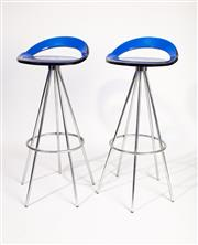 Sale 8770 - Lot 88 - A pair of chrome and cobalt perspex bar stools, French Circa 1960, H x 89cm