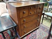 Sale 8792 - Lot 1076 - Late 19th Century Cedar Chest of Six Drawers, with mother-of-pearl inlaid handles & turned feet