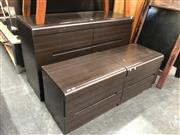 Sale 8801 - Lot 1586 - Modern Bedroom Suite inc Chest bedsides and Bed Head