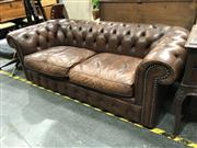 Sale 8854 - Lot 1020 - Leather Chesterfield 2 Seater Lounge